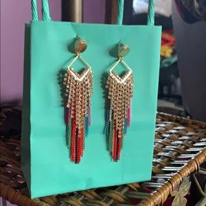 Stella and Ruby color chain earrings NWOT